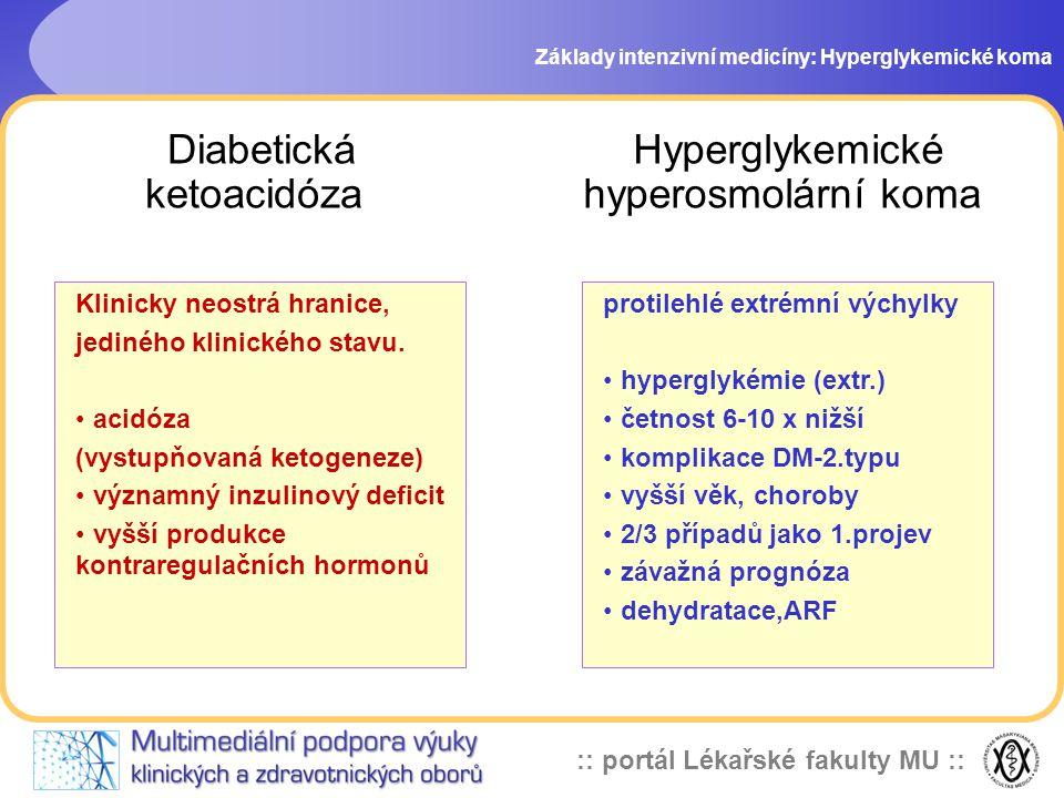 :: portál Lékařské fakulty MU :: Diabetická ketoacidóza Základy intenzivní medicíny: Hyperglykemické koma protilehlé extrémní výchylky hyperglykémie (