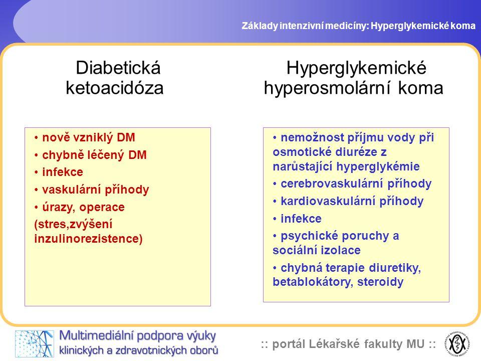 :: portál Lékařské fakulty MU :: Diabetická ketoacidóza Základy intenzivní medicíny: Hyperglykemické koma nemožnost příjmu vody při osmotické diuréze