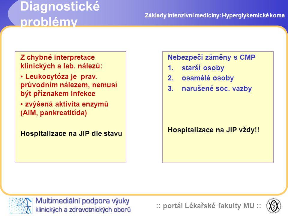 :: portál Lékařské fakulty MU :: Základy intenzivní medicíny: Hyperglykemické koma Nebezpečí záměny s CMP 1.starší osoby 2.osamělé osoby 3.narušené so