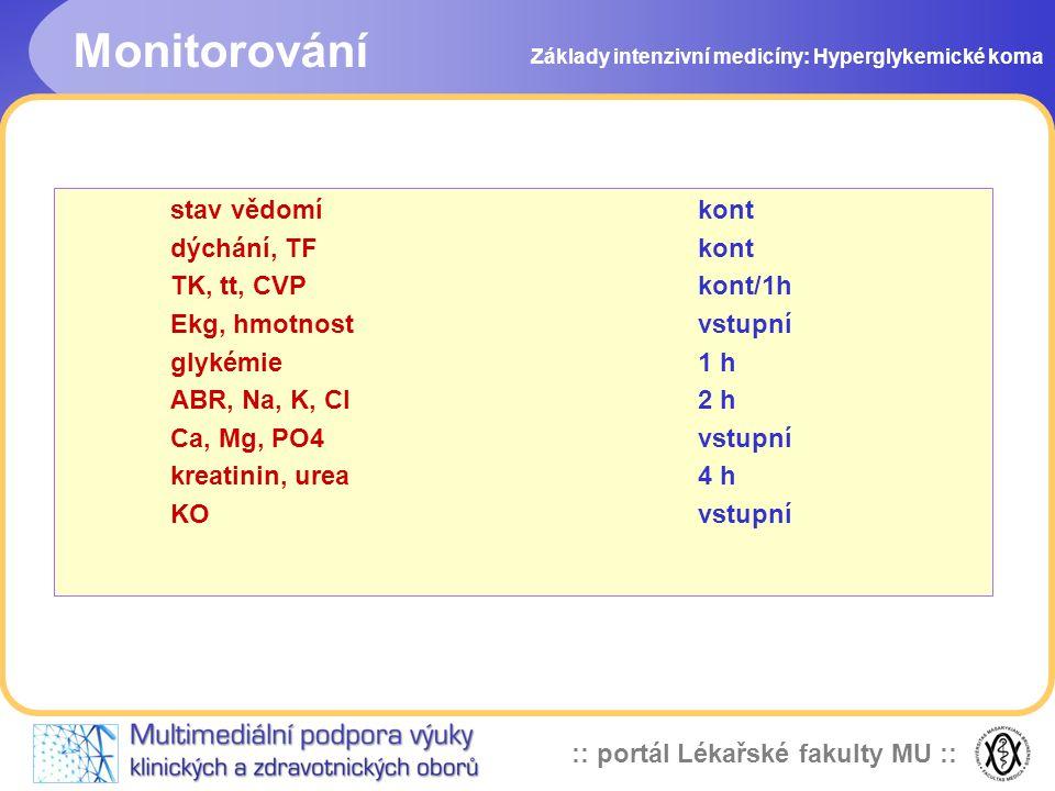 :: portál Lékařské fakulty MU :: Základy intenzivní medicíny: Hyperglykemické koma stav vědomí kont dýchání, TF kont TK, tt, CVP kont/1h Ekg, hmotnost