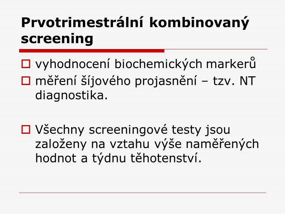 Prvotrimestrální kombinovaný screening  vyhodnocení biochemických markerů  měření šíjového projasnění – tzv.