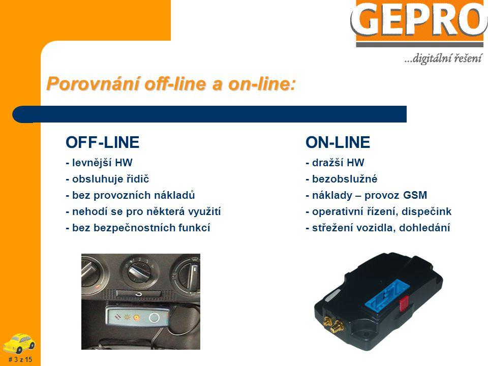 Porovnání off-line a on-line Porovnání off-line a on-line: OFF-LINE - levnější HW - obsluhuje řidič - bez provozních nákladů - nehodí se pro některá využití - bez bezpečnostních funkcí ON-LINE - dražší HW - bezobslužné - náklady – provoz GSM - operativní řízení, dispečink - střežení vozidla, dohledání # 3 z 15