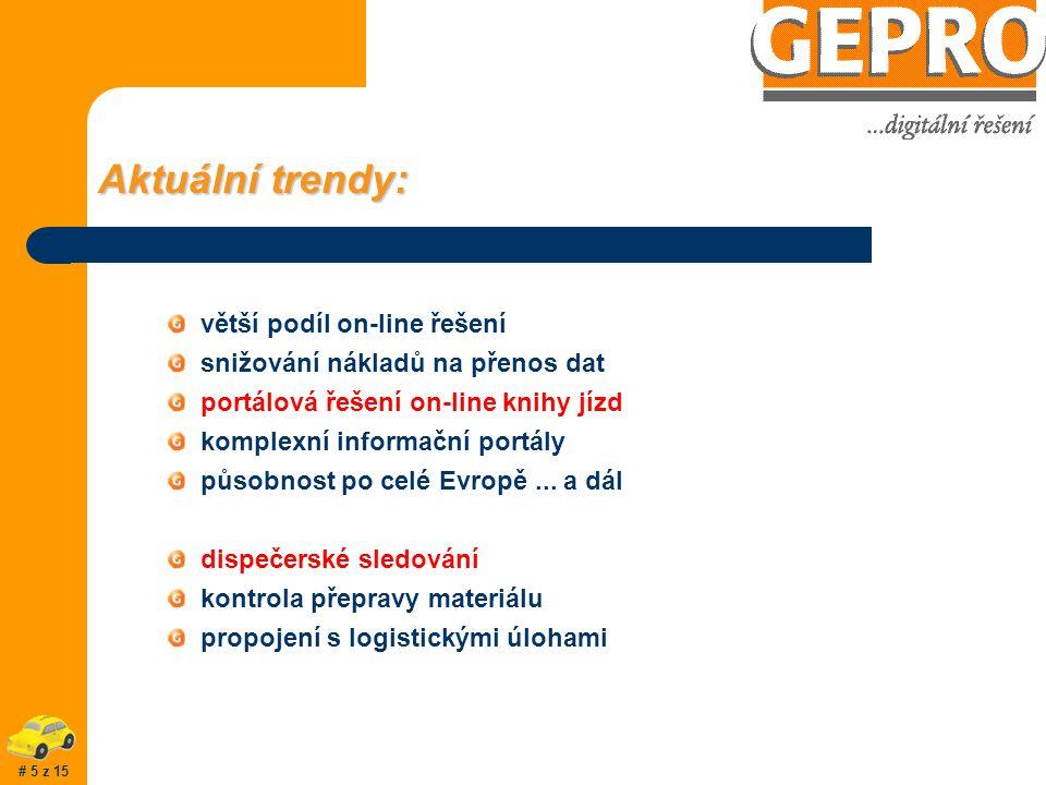 Aktuální trendy: větší podíl on-line řešení snižování nákladů na přenos dat portálová řešení on-line knihy jízd komplexní informační portály působnost po celé Evropě...
