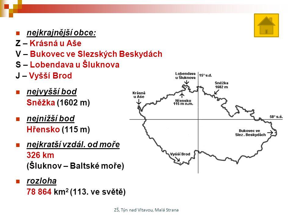 nejkrajnější obce: Z – Krásná u Aše V – Bukovec ve Slezských Beskydách S – Lobendava u Šluknova J – Vyšší Brod nejvyšší bod Sněžka (1602 m) nejnižší b