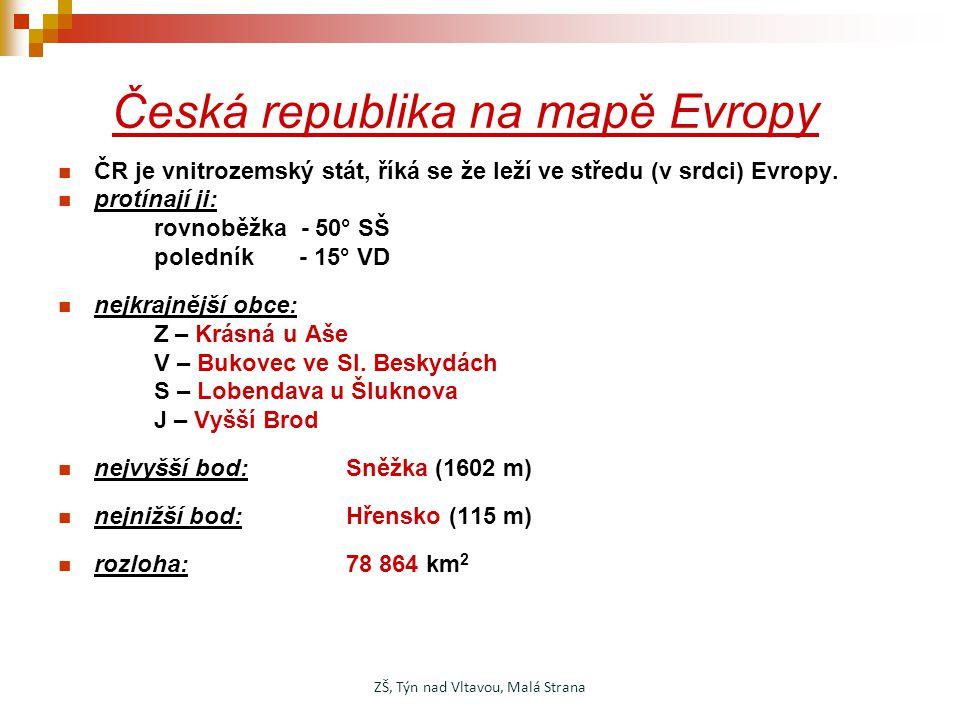 Česká republika na mapě Evropy ČR je vnitrozemský stát, říká se že leží ve středu (v srdci) Evropy. protínají ji: rovnoběžka - 50° SŠ poledník - 15° V