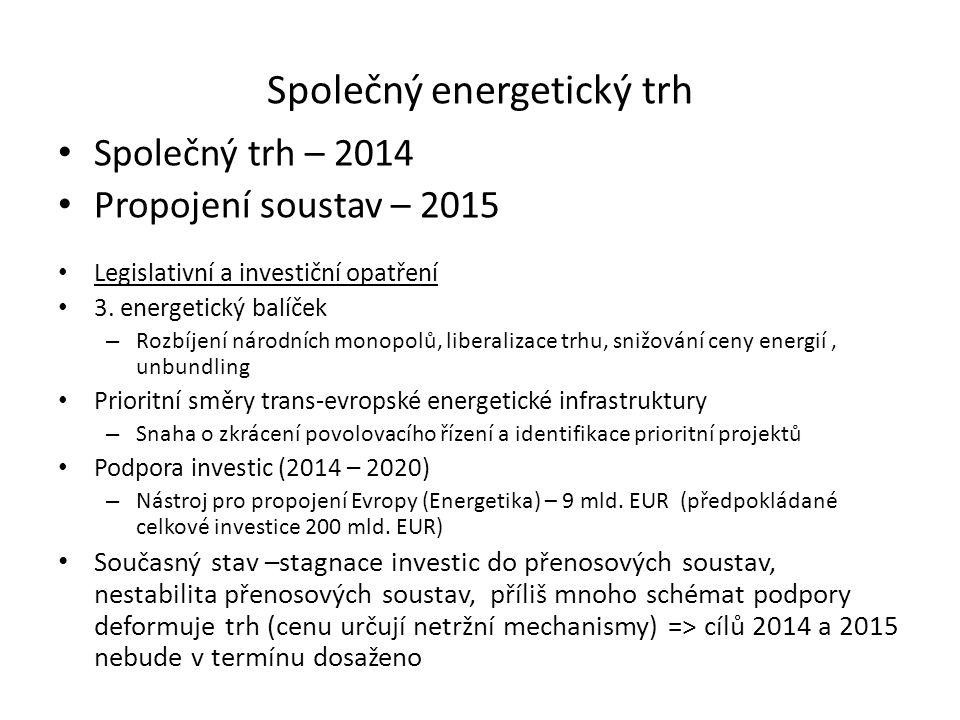 Společný energetický trh Společný trh – 2014 Propojení soustav – 2015 Legislativní a investiční opatření 3. energetický balíček – Rozbíjení národních