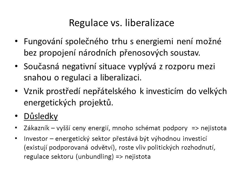 Regulace vs. liberalizace Fungování společného trhu s energiemi není možné bez propojení národních přenosových soustav. Současná negativní situace vyp
