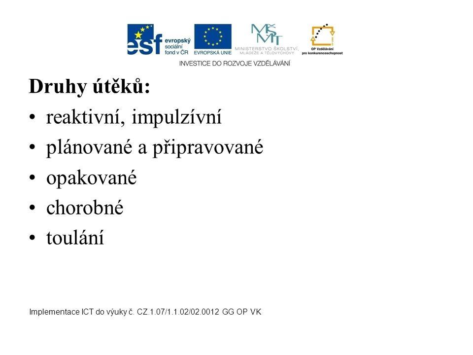Druhy útěků: reaktivní, impulzívní plánované a připravované opakované chorobné toulání Implementace ICT do výuky č. CZ.1.07/1.1.02/02.0012 GG OP VK