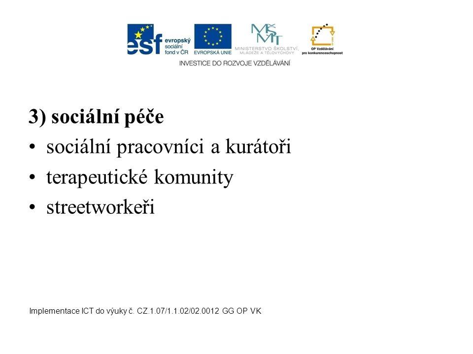 3) sociální péče sociální pracovníci a kurátoři terapeutické komunity streetworkeři Implementace ICT do výuky č. CZ.1.07/1.1.02/02.0012 GG OP VK
