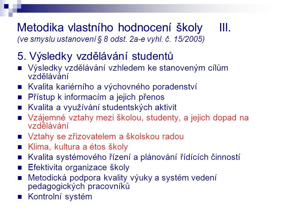 Metodika vlastního hodnocení školy III. (ve smyslu ustanovení § 8 odst. 2a-e vyhl. č. 15/2005) 5. Výsledky vzdělávání studentů Výsledky vzdělávání vzh