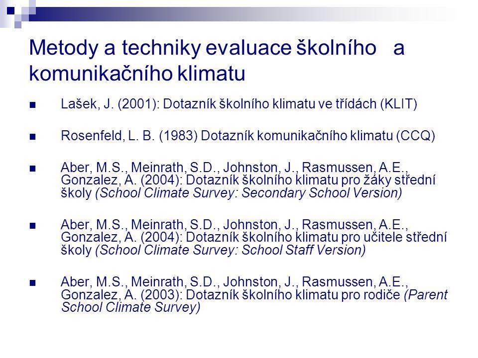 Metody a techniky evaluace školního a komunikačního klimatu Lašek, J. (2001): Dotazník školního klimatu ve třídách (KLIT) Rosenfeld, L. B. (1983) Dota