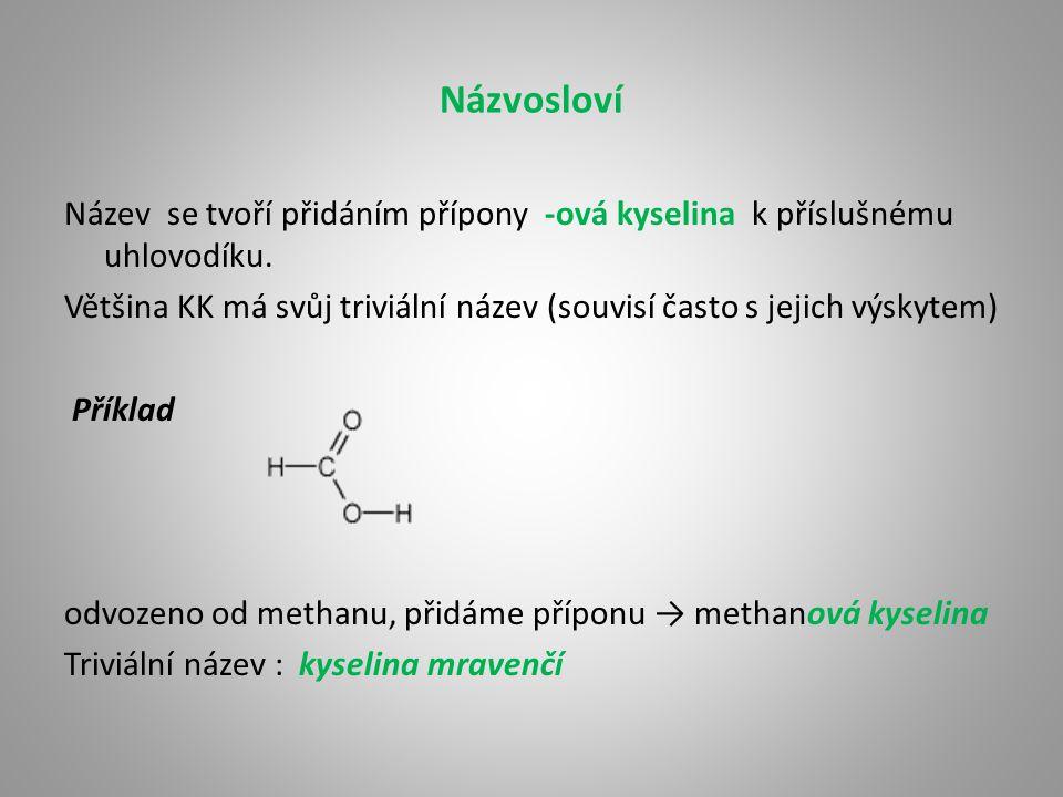 Názvosloví Název se tvoří přidáním přípony -ová kyselina k příslušnému uhlovodíku. Většina KK má svůj triviální název (souvisí často s jejich výskytem