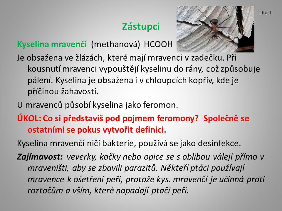 Zástupci Kyselina mravenčí (methanová) HCOOH Je obsažena ve žlázách, které mají mravenci v zadečku. Při kousnutí mravenci vypouštějí kyselinu do rány,