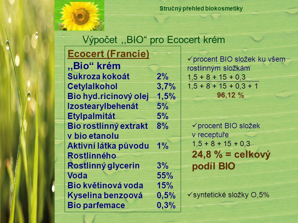 """Stručný přehled biokosmetiky Výpočet,,BIO"""" pro Ecocert krém Ecocert (Francie),,Bio"""" krém Sukroza kokoát2% Cetylalkohol3,7% Bio hyd.ricinový olej1,5% I"""