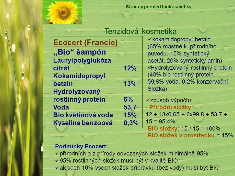 "Stručný přehled biokosmetiky Tenzidová kosmetika Ecocert (Francie),,Bio"" šampón Laurylpolyglukóza citrát12% Kokamidopropyl betain 13% Hydrolyzovaný ro"