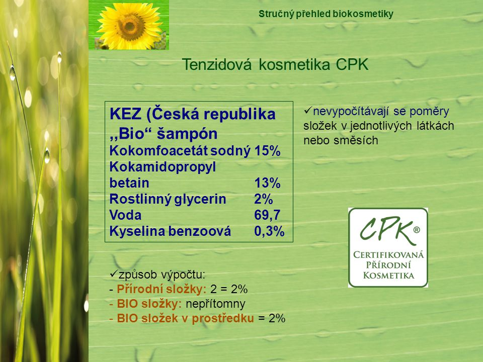 "Stručný přehled biokosmetiky Tenzidová kosmetika CPK KEZ (Česká republika,,Bio"" šampón Kokomfoacetát sodný15% Kokamidopropyl betain 13% Rostlinný glyc"