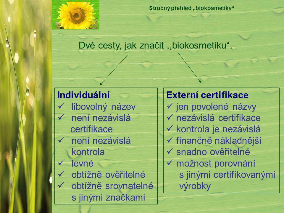 """Stručný přehled,,biokosmetiky"""" Dvě cesty, jak značit,,biokosmetiku"""". Individuální libovolný název není nezávislá certifikace není nezávislá kontrola l"""