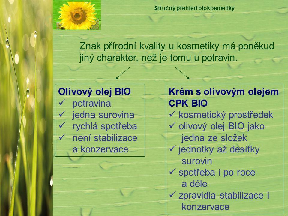 Stručný přehled biokosmetiky Znak přírodní kvality u kosmetiky má poněkud jiný charakter, než je tomu u potravin. Olivový olej BIO potravina jedna sur
