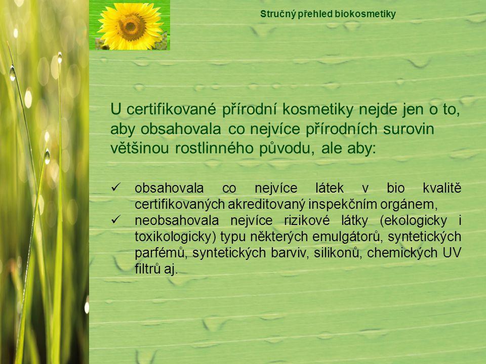 Stručný přehled biokosmetiky obsahovala co nejvíce látek v bio kvalitě certifikovaných akreditovaný inspekčním orgánem, neobsahovala nejvíce rizikové