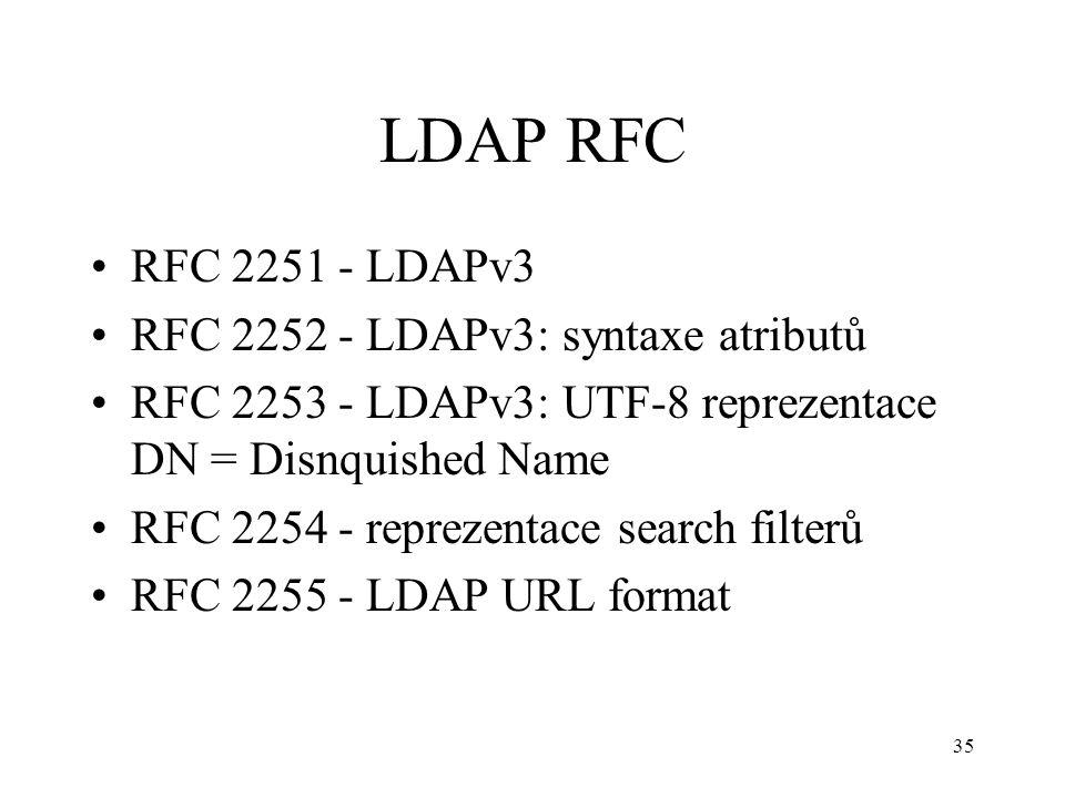 35 LDAP RFC RFC 2251 - LDAPv3 RFC 2252 - LDAPv3: syntaxe atributů RFC 2253 - LDAPv3: UTF-8 reprezentace DN = Disnquished Name RFC 2254 - reprezentace
