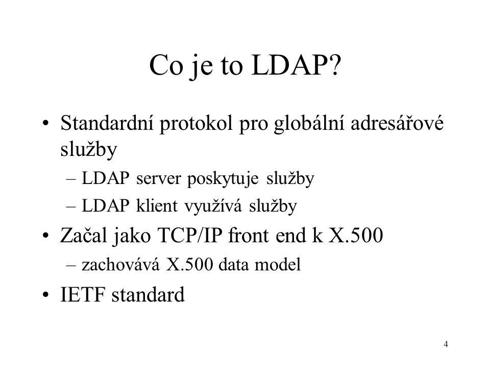 5 Historie ITU-T X.500 1985-1988 DAP RFC 1487 (1993), v2 RFC 1777 v3 RFC 2251 –podpora mezinárodních znaků Unicode UTF-8, jazykové kódy –bezpečnost (SSL, SASL) –distribuovanost (referaly) –extensibilita (např.