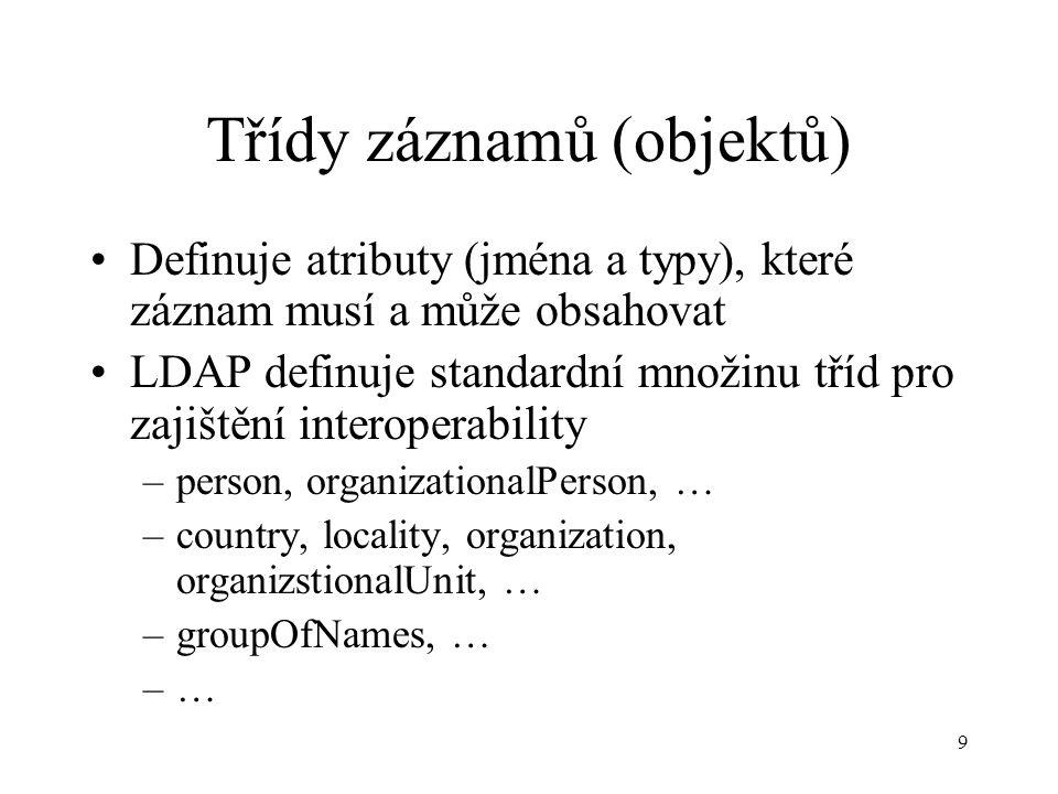 9 Třídy záznamů (objektů) Definuje atributy (jména a typy), které záznam musí a může obsahovat LDAP definuje standardní množinu tříd pro zajištění interoperability –person, organizationalPerson, … –country, locality, organization, organizstionalUnit, … –groupOfNames, … –…