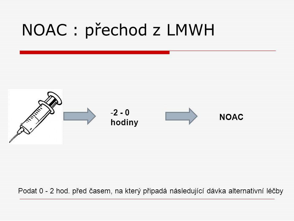 NOAC : přechod z LMWH Podat 0 - 2 hod. před časem, na který připadá následující dávka alternativní léčby NOAC -2 - 0 hodiny