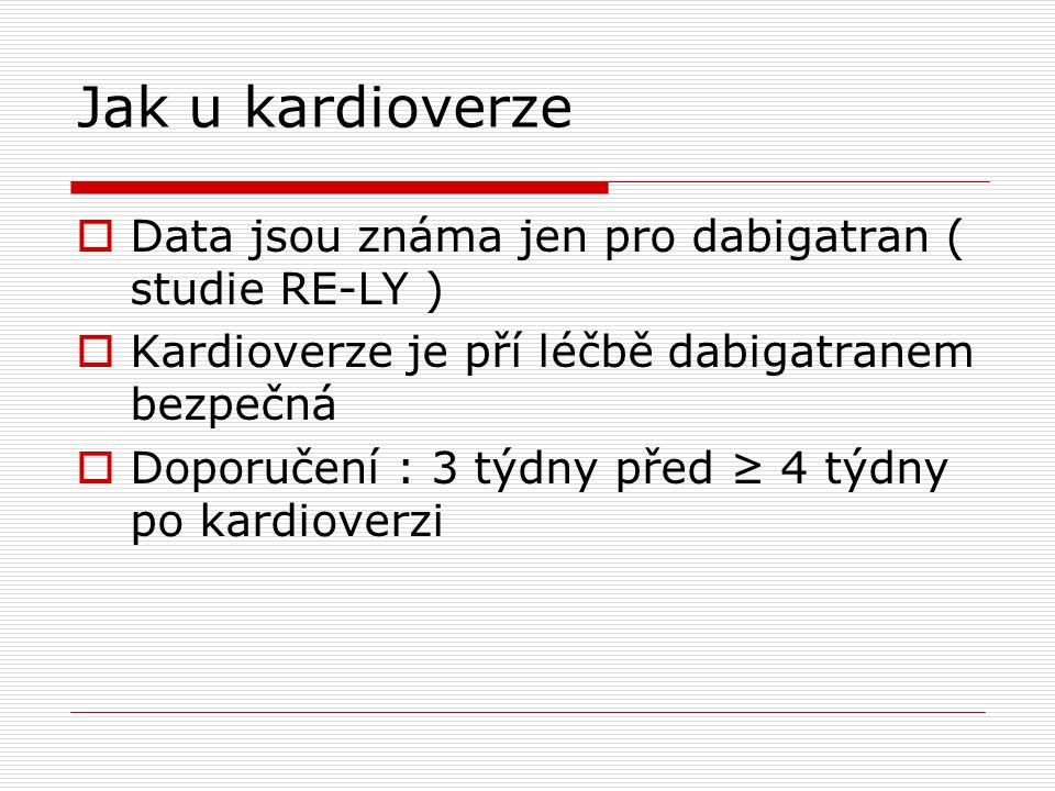 Jak u kardioverze  Data jsou známa jen pro dabigatran ( studie RE-LY )  Kardioverze je pří léčbě dabigatranem bezpečná  Doporučení : 3 týdny před ≥