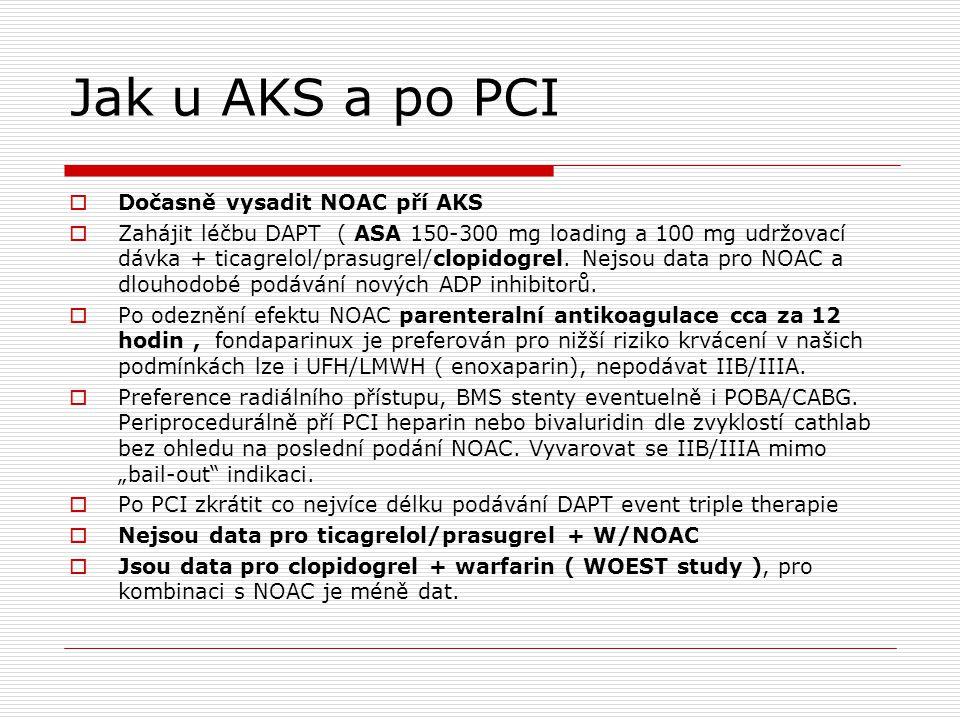 Jak u AKS a po PCI  Dočasně vysadit NOAC pří AKS  Zahájit léčbu DAPT ( ASA 150-300 mg loading a 100 mg udržovací dávka + ticagrelol/prasugrel/clopid