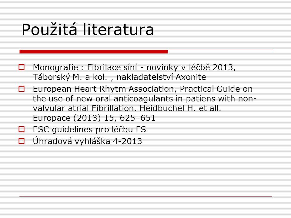Použitá literatura  Monografie : Fibrilace síní - novinky v léčbě 2013, Táborský M. a kol., nakladatelství Axonite  European Heart Rhytm Association