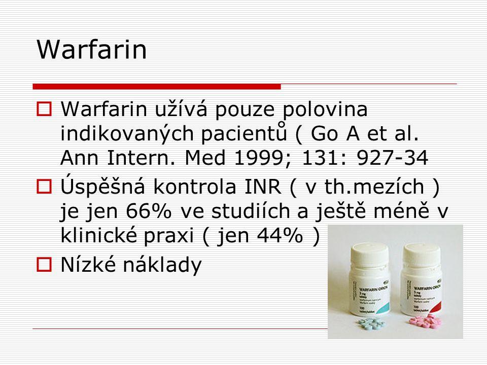 Warfarin  Warfarin užívá pouze polovina indikovaných pacientů ( Go A et al. Ann Intern. Med 1999; 131: 927-34  Úspěšná kontrola INR ( v th.mezích )