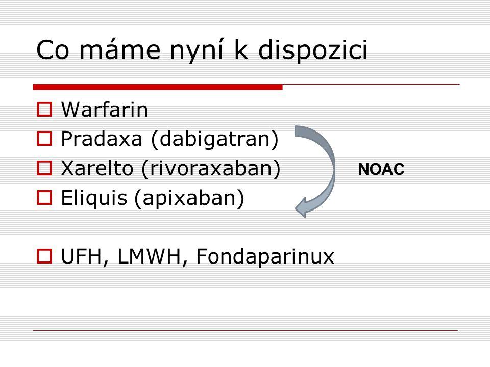 Co máme nyní k dispozici  Warfarin  Pradaxa (dabigatran)  Xarelto (rivoraxaban)  Eliquis (apixaban)  UFH, LMWH, Fondaparinux NOAC