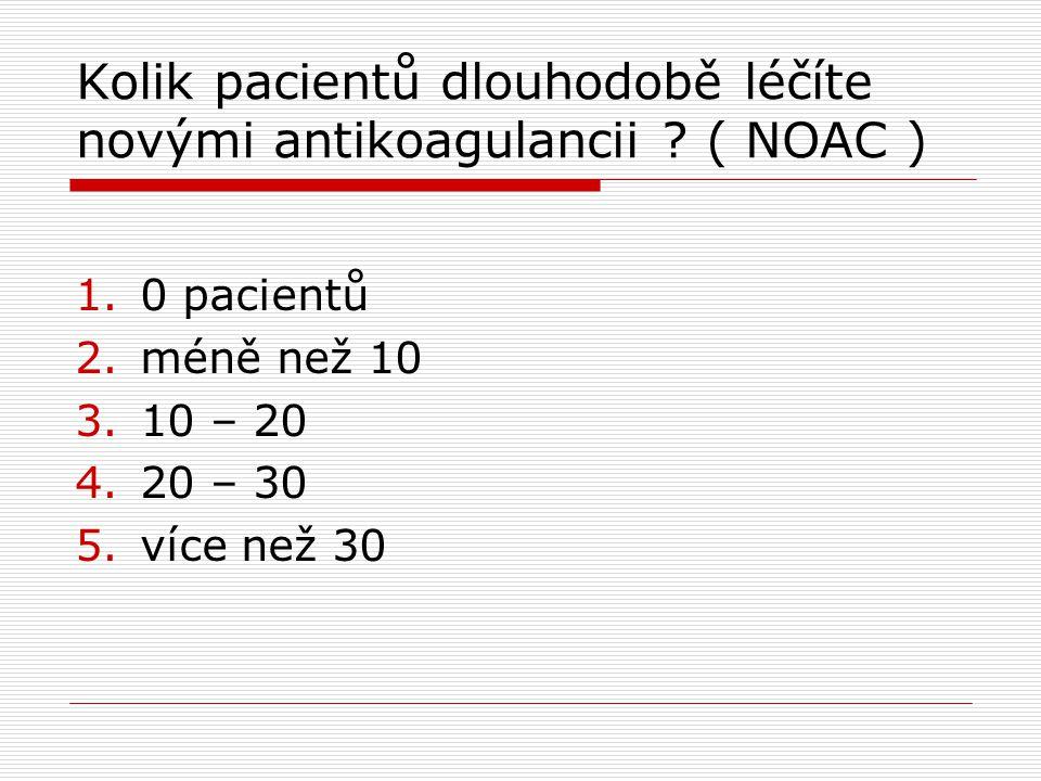 Kolik pacientů dlouhodobě léčíte novými antikoagulancii ? ( NOAC ) 1.0 pacientů 2.méně než 10 3.10 – 20 4.20 – 30 5.více než 30