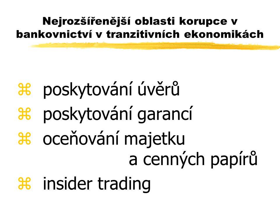 Nejrozšířenější oblasti korupce v bankovnictví v tranzitivních ekonomikách z poskytování úvěrů oskytování garancí z oceňování majetku a cenných papírů z insider trading