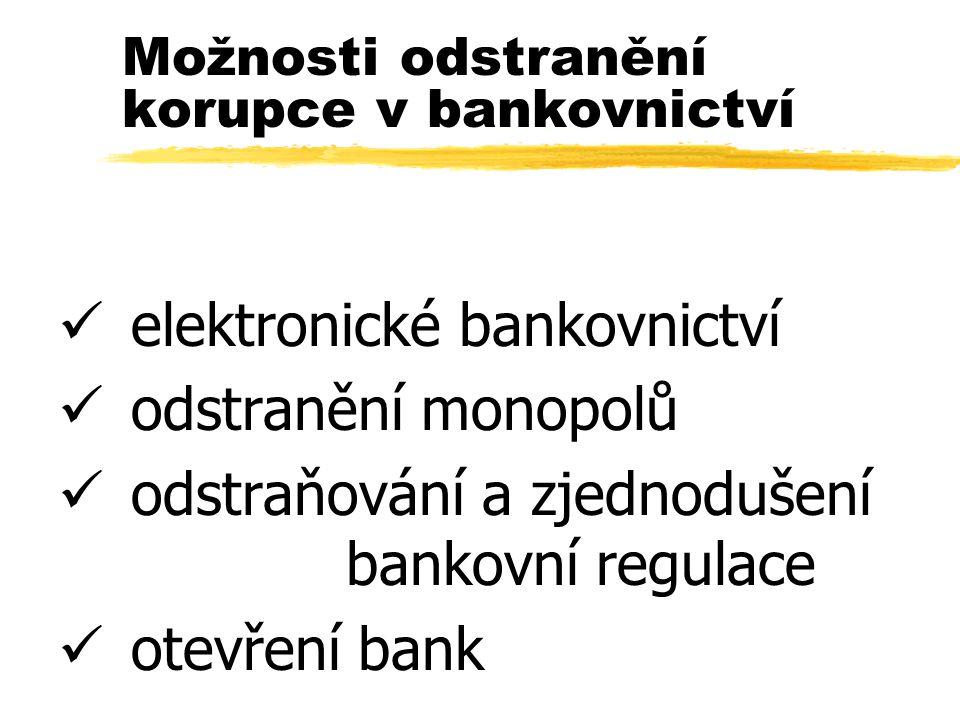 Možnosti odstranění korupce v bankovnictví ü elektronické bankovnictví ü odstranění monopolů ü odstraňování a zjednodušení bankovní regulace ü otevření bank