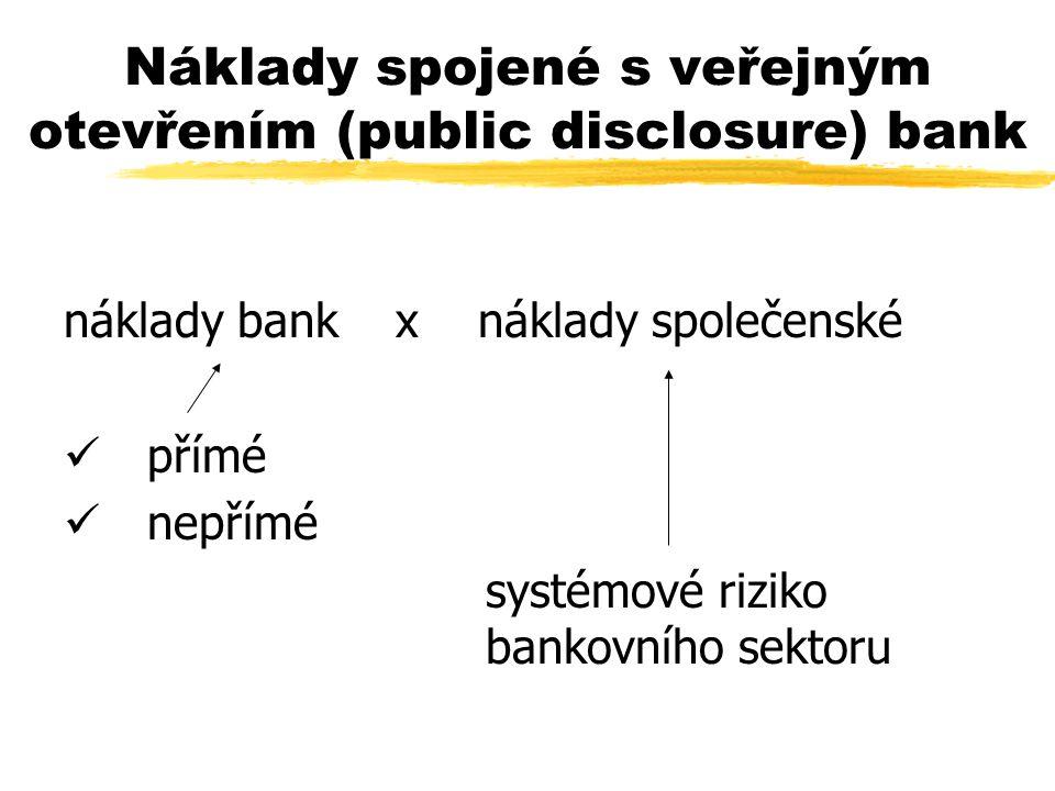 Náklady spojené s veřejným otevřením (public disclosure) bank náklady bank x náklady společenské ü přímé ü nepřímé systémové riziko bankovního sektoru