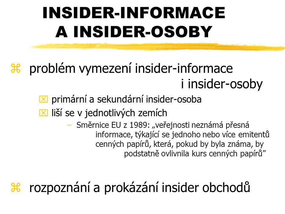 """INSIDER-INFORMACE A INSIDER-OSOBY z problém vymezení insider-informace i insider-osoby x primární a sekundární insider-osoba x liší se v jednotlivých zemích – Směrnice EU z 1989: """"veřejnosti neznámá přesná informace, týkající se jednoho nebo více emitentů cenných papírů, která, pokud by byla známa, by podstatně ovlivnila kurs cenných papírů z rozpoznání a prokázání insider obchodů"""