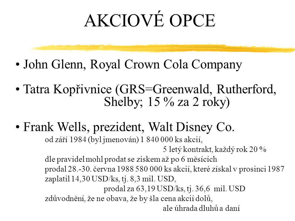 AKCIOVÉ OPCE John Glenn, Royal Crown Cola Company Tatra Kopřivnice (GRS=Greenwald, Rutherford, Shelby; 15 % za 2 roky) Frank Wells, prezident, Walt Di