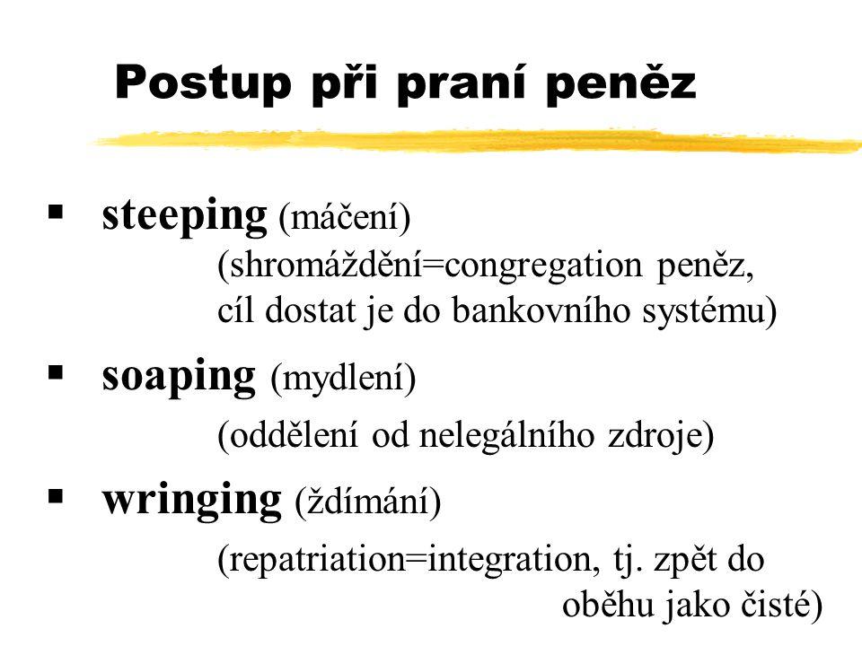 Postup při praní peněz  steeping (máčení) (shromáždění=congregation peněz, cíl dostat je do bankovního systému)  soaping (mydlení) (oddělení od nelegálního zdroje)  wringing (ždímání) (repatriation=integration, tj.