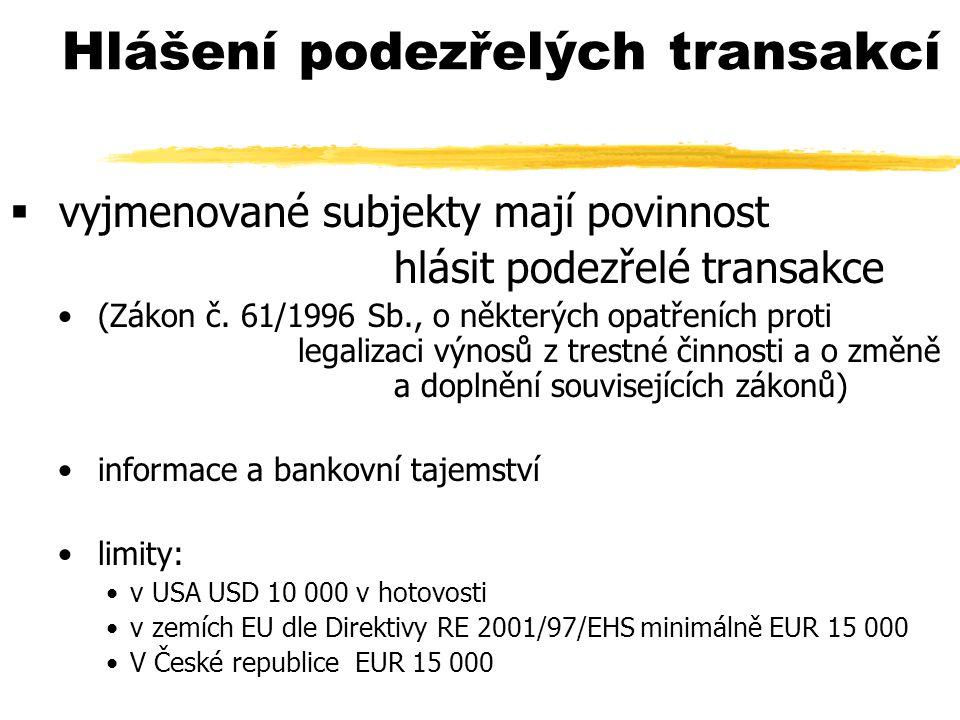 Hlášení podezřelých transakcí  vyjmenované subjekty mají povinnost hlásit podezřelé transakce (Zákon č. 61/1996 Sb., o některých opatřeních proti leg
