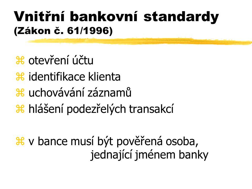 Vnitřní bankovní standardy (Zákon č. 61/1996) z otevření účtu z identifikace klienta z uchovávání záznamů z hlášení podezřelých transakcí z v bance mu