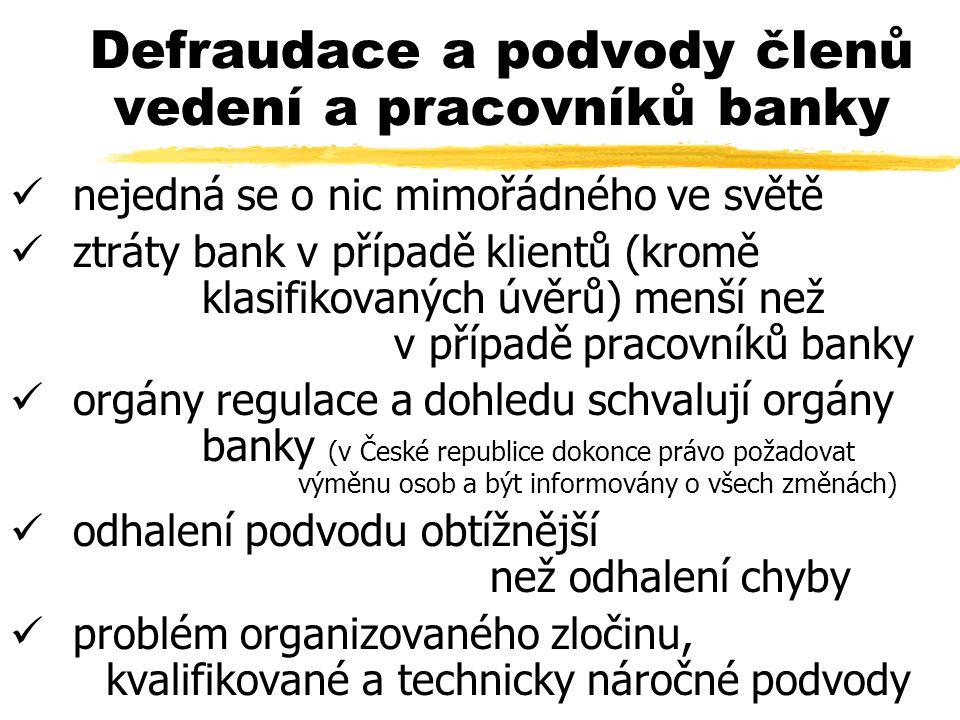 Defraudace a podvody členů vedení a pracovníků banky nejedná se o nic mimořádného ve světě ztráty bank v případě klientů (kromě klasifikovaných úvěrů) menší než v případě pracovníků banky orgány regulace a dohledu schvalují orgány banky (v České republice dokonce právo požadovat výměnu osob a být informovány o všech změnách) odhalení podvodu obtížnější než odhalení chyby problém organizovaného zločinu, kvalifikované a technicky náročné podvody