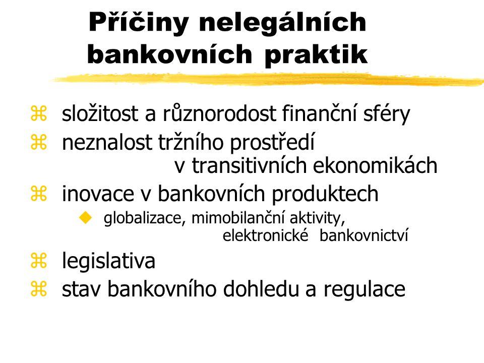 Příčiny nelegálních bankovních praktik z složitost a různorodost finanční sféry z neznalost tržního prostředí v transitivních ekonomikách z inovace v bankovních produktech u globalizace, mimobilanční aktivity, elektronické bankovnictví z legislativa z stav bankovního dohledu a regulace