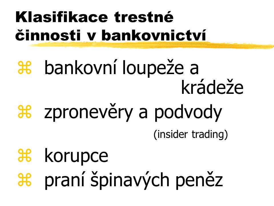 Klasifikace trestné činnosti v bankovnictví z bankovní loupeže a krádeže z zpronevěry a podvody (insider trading) z korupce z praní špinavých peněz