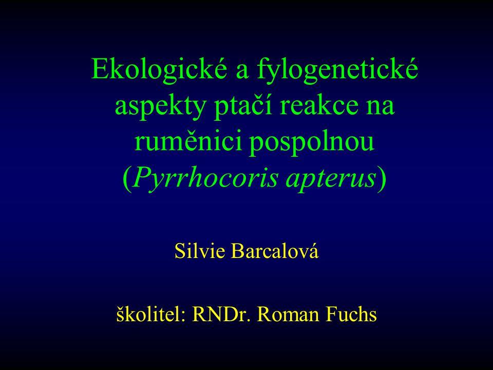 Ekologické a fylogenetické aspekty ptačí reakce na ruměnici pospolnou (Pyrrhocoris apterus) Silvie Barcalová školitel: RNDr. Roman Fuchs