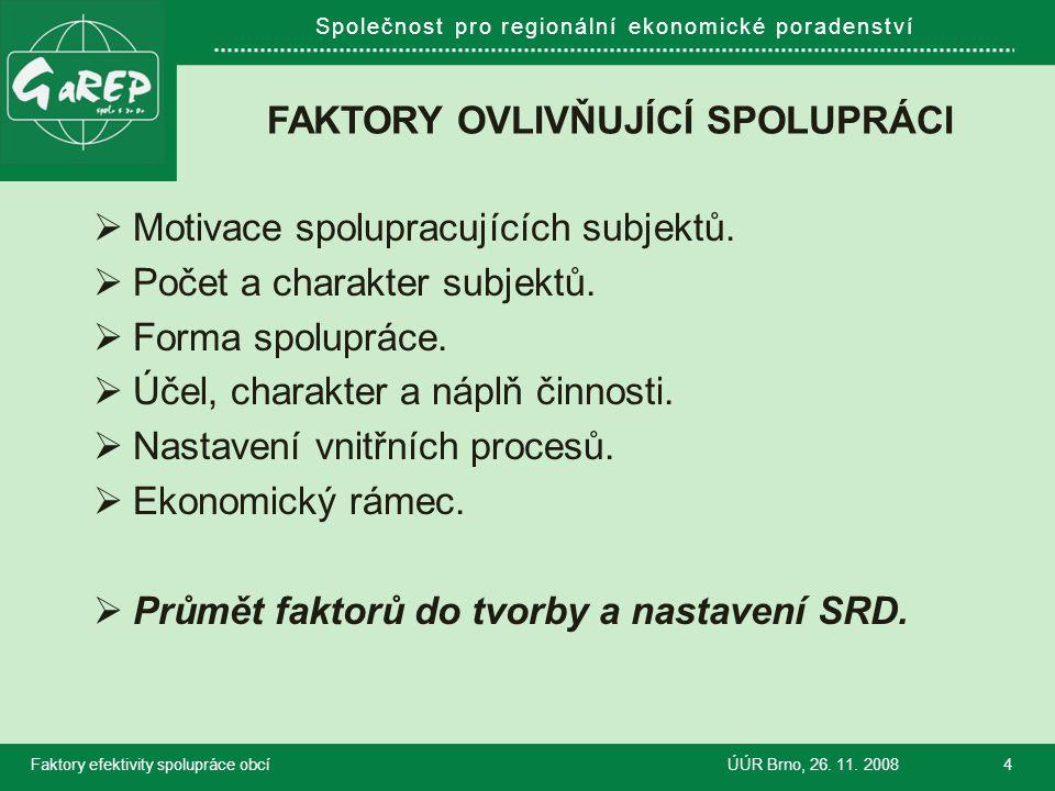 Společnost pro regionální ekonomické poradenství FAKTORY OVLIVŇUJÍCÍ SPOLUPRÁCI  Motivace spolupracujících subjektů.  Počet a charakter subjektů. 