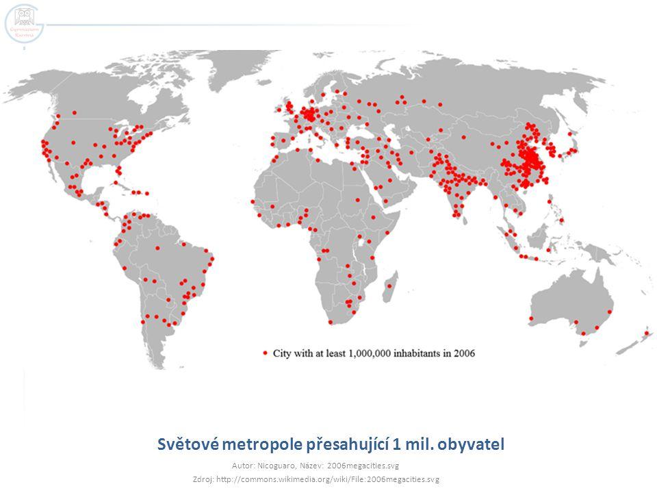 Světové metropole přesahující 1 mil. obyvatel Autor: Nicoguaro, Název: 2006megacities.svg Zdroj: http://commons.wikimedia.org/wiki/File:2006megacities
