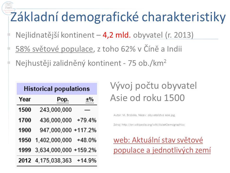 Základní demografické charakteristiky  Nejlidnatější kontinent – 4,2 mld. obyvatel (r. 2013)  58% světové populace, z toho 62% v Číně a Indii  Nejh