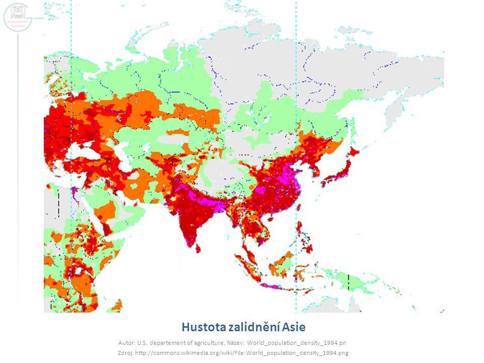 Hustota zalidnění Asie Autor: U.S. departement of agriculture, Název: World_population_density_1994.pn Zdroj: http://commons.wikimedia.org/wiki/File:W