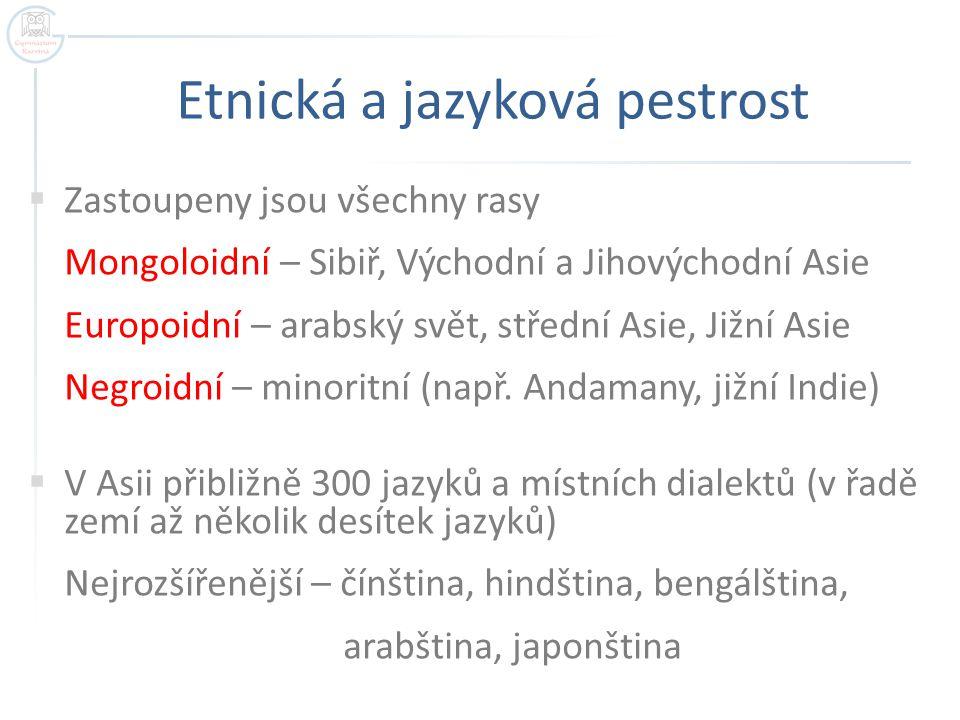 Etnická a jazyková pestrost  Zastoupeny jsou všechny rasy Mongoloidní – Sibiř, Východní a Jihovýchodní Asie Europoidní – arabský svět, střední Asie,